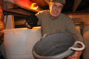 Bill harvests vermicompost -- still rich with wriggling worms!